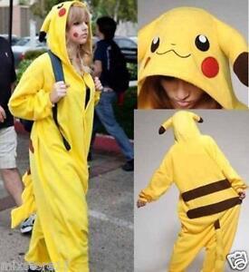 Unisex-Adult-Pyjamas-Pikachu-Pokemon-Cosplay-Tier-Onesie-Nachtwaesche-Nachtwaesche