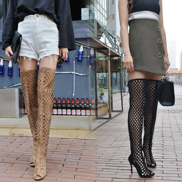 Women's Hollow Over Knee High Boots Stilettos High Heels Nightclub Party shoes