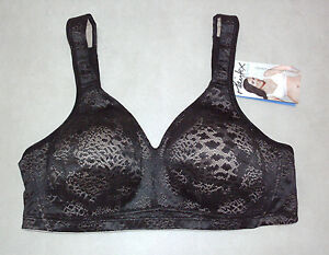 Playtex-18-HOUR-Size-20-B-Fittingly-Fabulous-BLACK-Lace-amp-Lined-WireFree-Bra