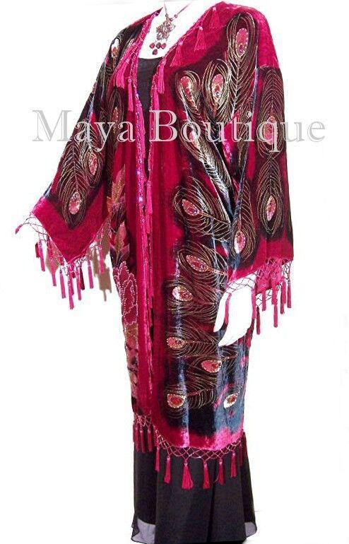 Rojo con Cuentas Pavo Real plumero Kimono  abrigo de ópera de terciopelo de seda Maya Matazaro  el mejor servicio post-venta