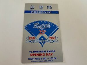 1983 Opening Day Los Angeles LA Dodgers Ticket Stub
