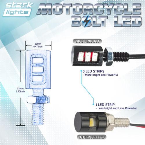 A WHITE 6K 4PCS Motorcycle Screw 3-SMD LED Bolt Lamp Car License Plate Light