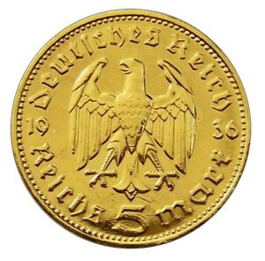 5-Reichsmark-1936-Hindenburg-24-Karat-vergoldet