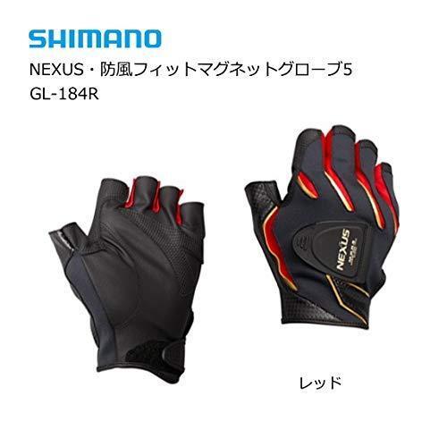 Guante De Pesca Shimano Nexus a prueba de viento 5 Corte Dedo GL-184R Rojo Japón Nuevo