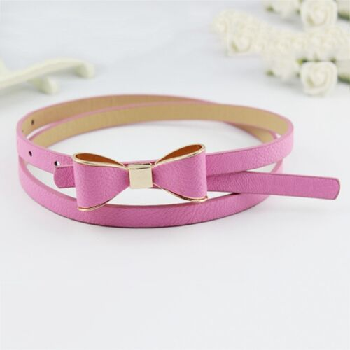 Ladies Women Candy Colour Bowknot Buckle Skinny Leather Thin Waist Belt Lizzj