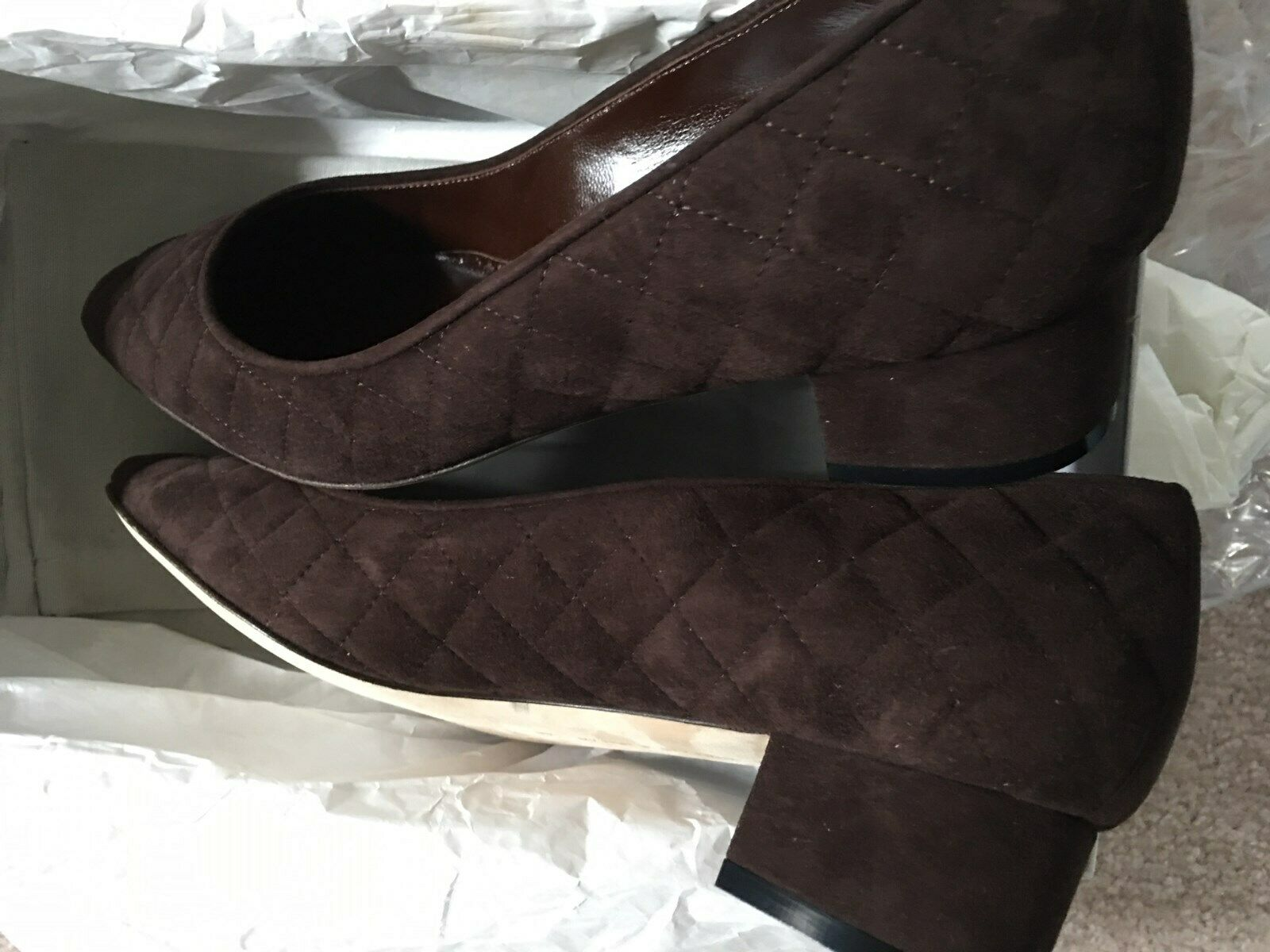 Women shoes Manolo Blahnik Brown Brown Brown Quilted Suede Pump Low Heel size 39 size 9 f3b405