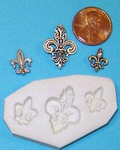3 Differnt Fleur De Lis Saints Polymer Clay Push Mold Jewelry or scrapbooking