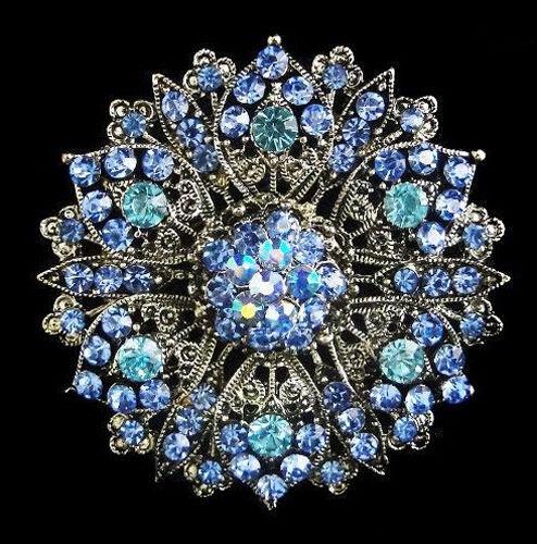 Vintage Blue Rhinestones Flower Shaped Corsage Brooch Pin BR97