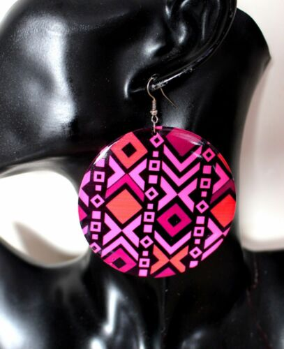 BYOU Pink Yellow Orange Green Geometric Large Big Round Antiallergy Earrings
