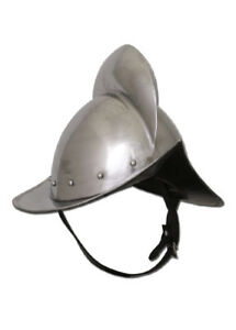 German-Morion-helmet-16G-with-leather-liner-and-chin-strap-lansquenet-LARP