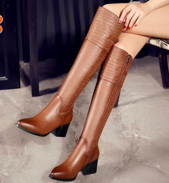 Womens Genuine Leather High Heel Platform Crocodile boots Over the Knee Boots 18