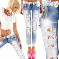New Sexy Women Skinny Jeans Ladies Pants Lace size 6 8 10 12 14 Blue S M Trouser