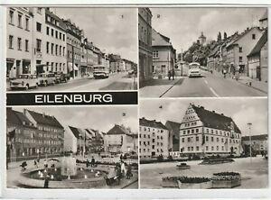 Ansichtskarte-Eilenburg-Leipziger-Strasse-Bergstrasse-Markt-Rathaus-am-Markt-s-w