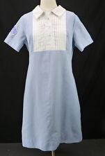 Vintage 60s Blue Pleated Bib NURSES Uniform Shift Dress Dated 1966 Whittenton L