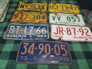 Lot-of-7-Alberta-Wildrose-Country-Vintage-License-Plates-1960s-various-Canada