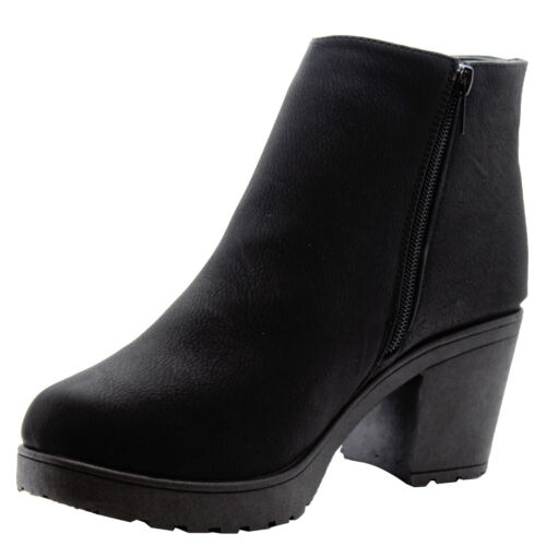 Ladies Chelsea Ankle Boots Womens Block Chunky Mid Heel Side Zip Work Shoes Size