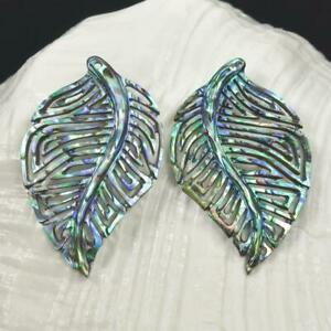 Multicolor-Paua-Abalone-Shell-Iridescent-Carved-Abstract-Leaf-Earring-Pair-3-12g