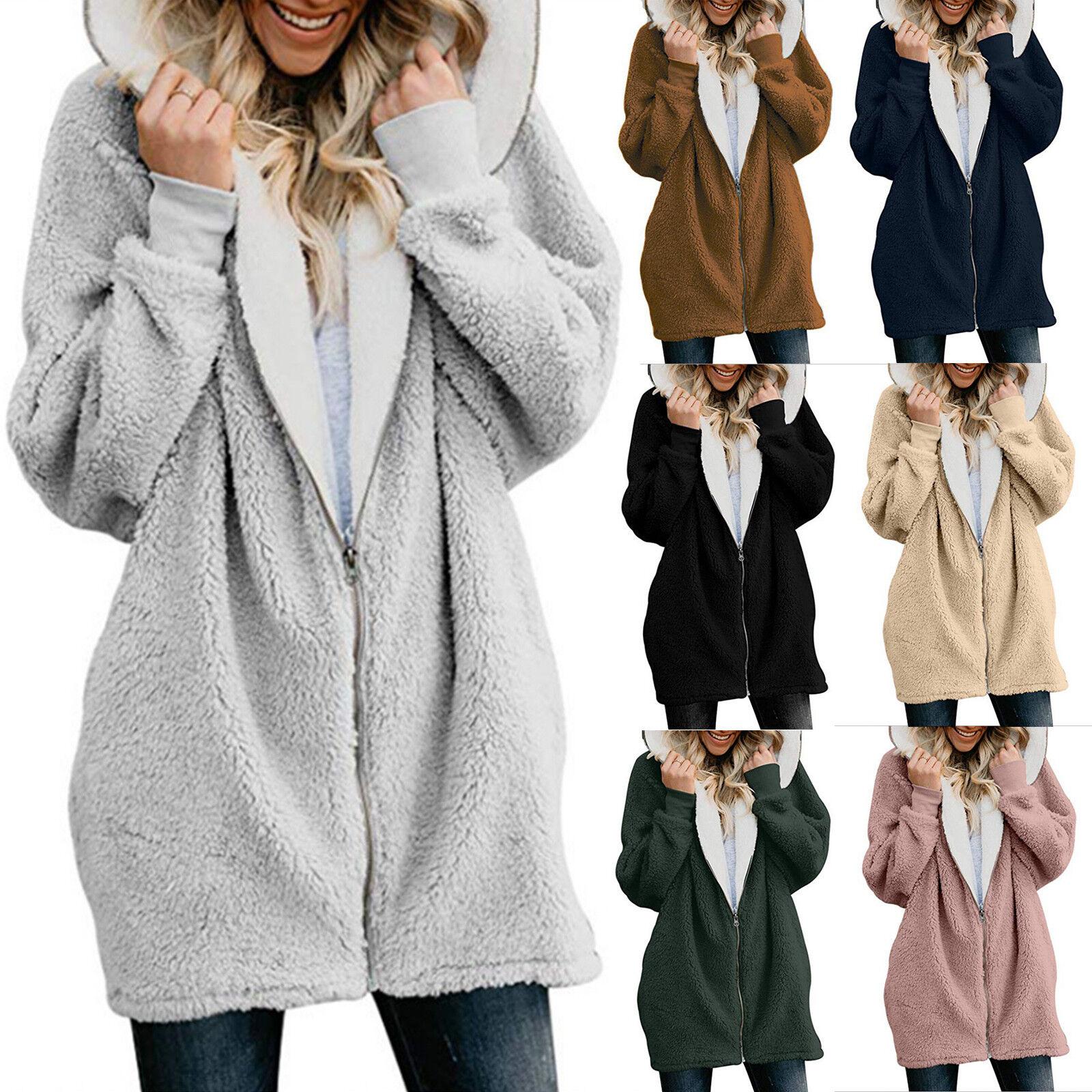 Womens Ladies Warm Teddy Bear Fluffy Coat Hooded Fleece Jacket Outwear Plus Size