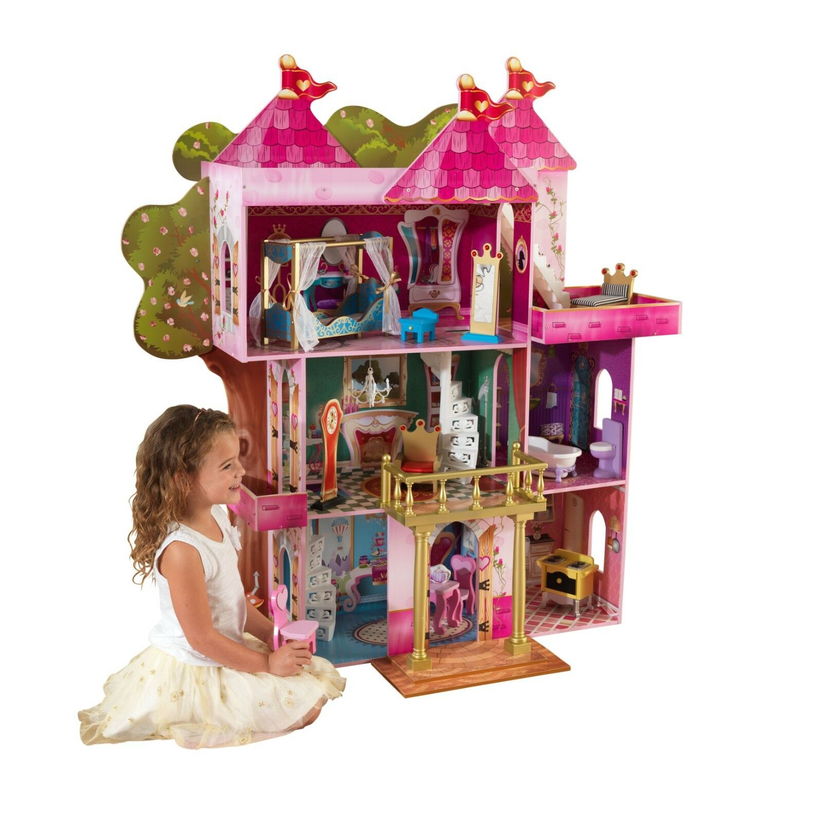 KidKraft Storybook Mansion Dollhouse 14 Accessories Playset Pretend Play Toy FUN