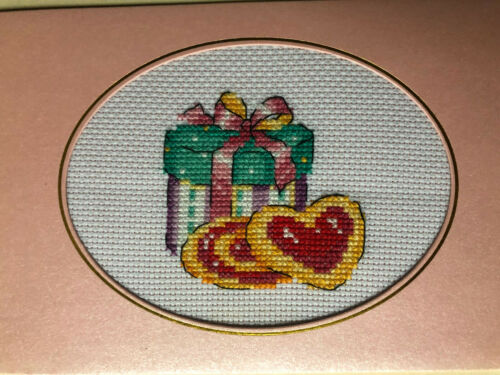 """completed finished cross stitch /""""Happy Valentine/"""" card  by 7"""