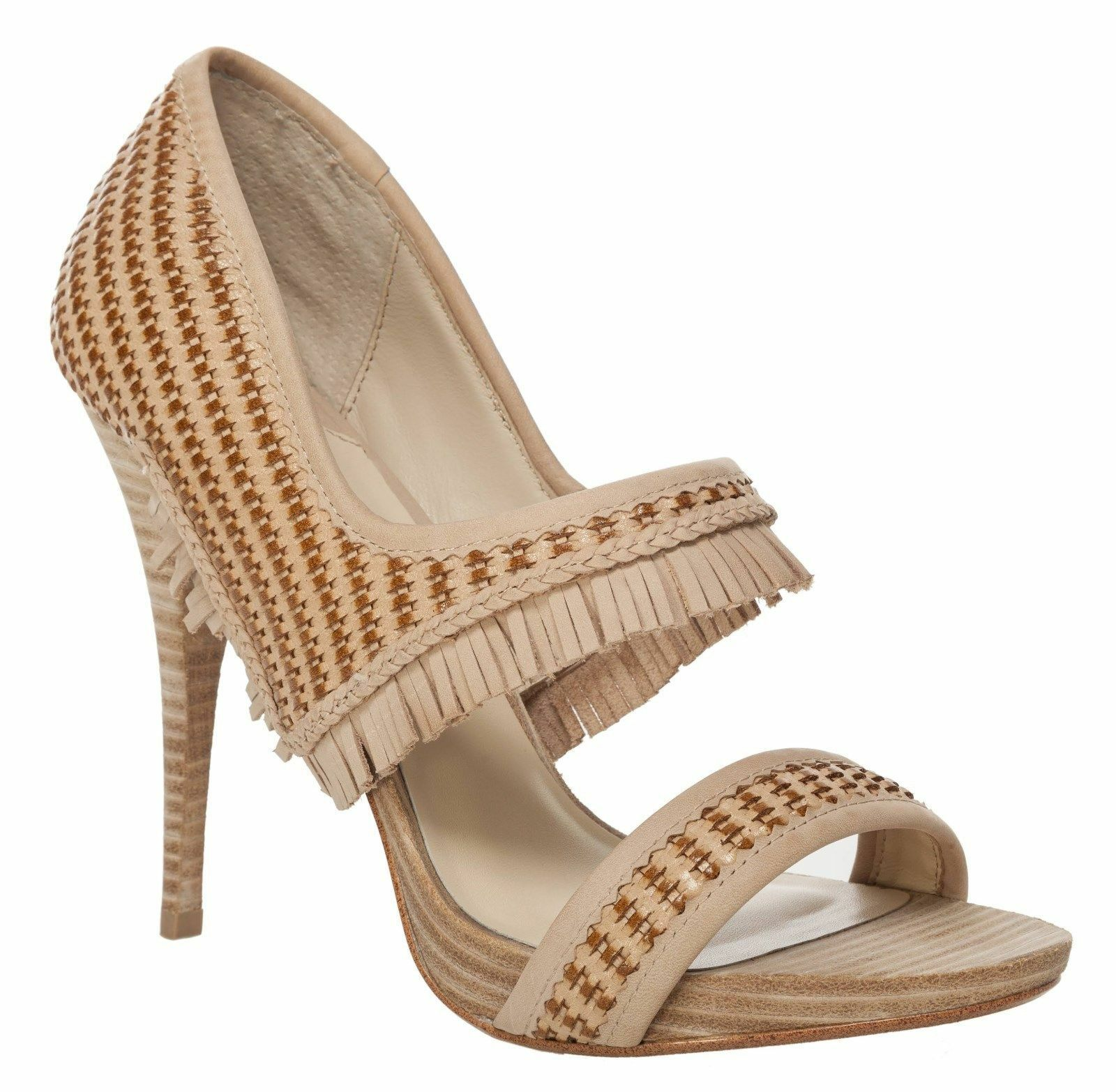 328 MAXSTUDIO Evan Heel Fringed Woven Leather Sandal Beige 8.5M NEW