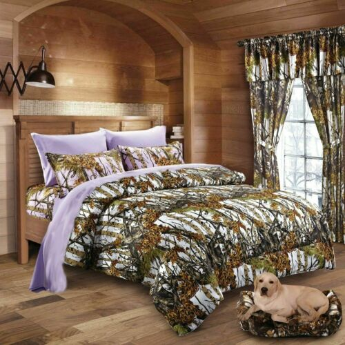 7 PC QUEEN WHITE WOODS CAMO COMFORTER AND LAVENDER SHEET SET CAMOUFLAGE