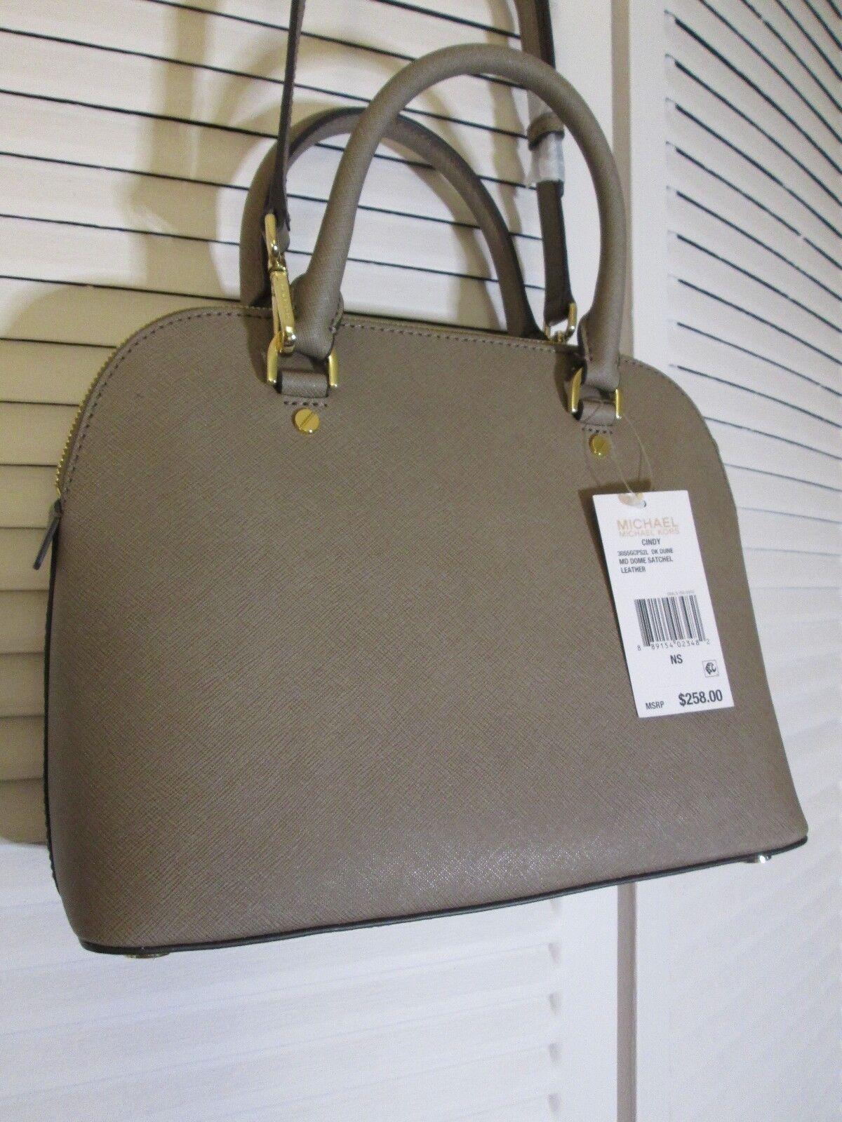 09374ec650 Michael Kors Cindy Medium Dome Satchel Saffiano Leather Dark Dune Gold H1  for sale online