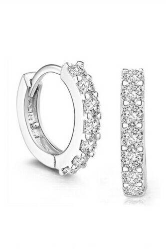 Elegantes Plaque Argent Zircon bijoux de Zirconia Cercle Boucles d/'oreilles Z1P5