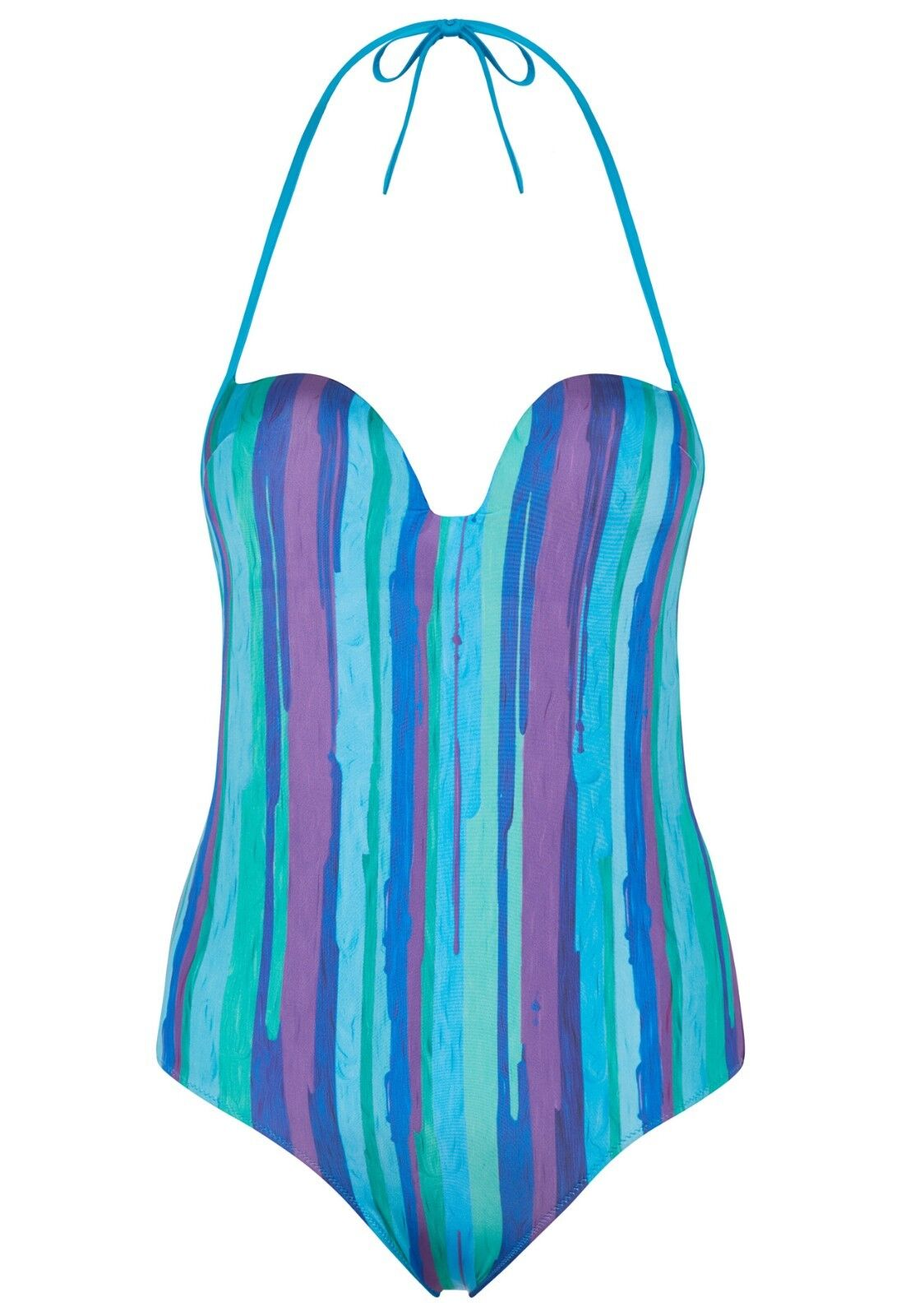 335 NEW LA PERLA Summer Stripe Padded Swimsuit bluee Green Purple US 36 C IT 3 C