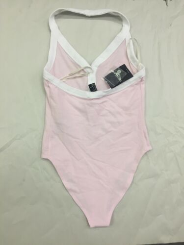 Forever 21 Henley Halter Top Bodysuit Cotton Candy Pink White Trim S NEW
