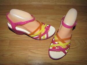 220b023b7379b Details about Crocs Multi Color Jelly Wedge Sandals - 8 European 39 EUC