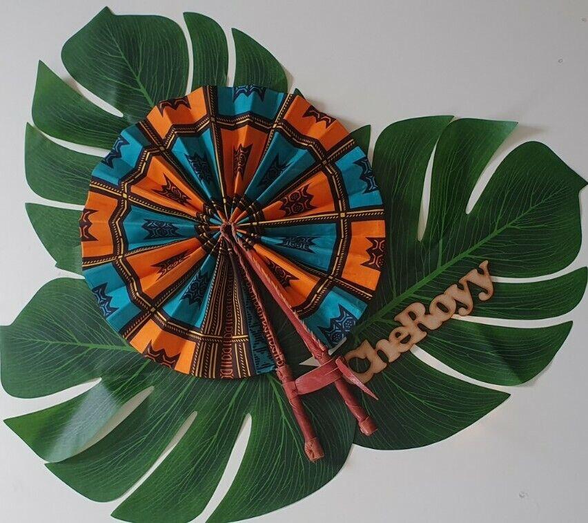 Beautiful Cheroyy handmade Afro Printed Fabric And Leather Handle Handfan