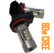 80W H11 H8 Cree Xenon White LED Fog Light Bulbs Uk Pair Spot DRL BMW M-Tech