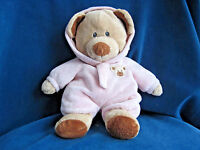 TY Pluffies BABY BEAR PINK Teddy Plush 2010 LOVEY Stuffed Non-Removable Pajamas