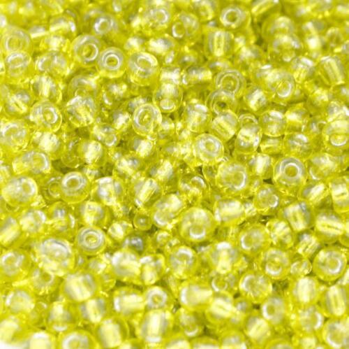Perles de Rocaille 3mm couleur jaune transparent trou argenté x 20g