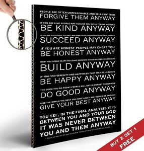 Mother Teresa Quote Poster Do It Anyway Inspirational Motivational