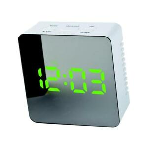 Details about Modern Alarm Clock with Mirror Night Light Temperature Green  LED Light #4