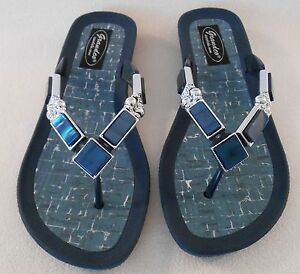 5325fa0c852cb7 Image is loading GRANDCO-SANDALS-Beach-Pool-THONG-BLING-Dressy-BLUE-