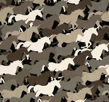 Fat Quarter Unicorn Herd Taupe 100% Cotton Quilting Fabric Michael Miller