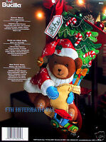 Bucilla Santa Teddy Bear 18 Felt Christmas Stocking Kit 86062, Tree, Train