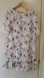 NEW-White-Magnolia-Shift-dress-with-ruffle-hem-size-12-14