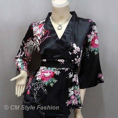 Yukata Kimono Design Silky Satin Wrap Tie Top Red S//M//L//XL//2XL//3XL