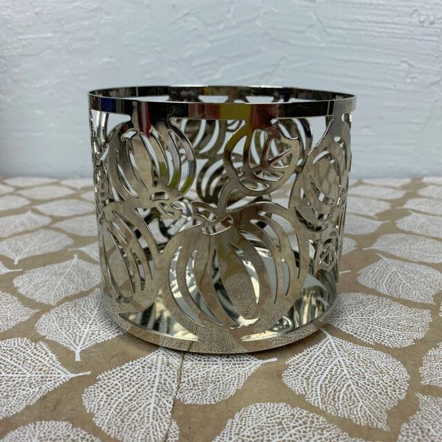 Slatkin & Co Silver Metal Candle Holder Pumpkin Halloween Fall 3-Wick