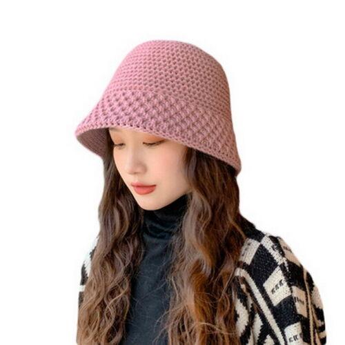 Women Girls Faux Wool Crochet Knitted Bucket Hat Warm Fisherman Cap Hat