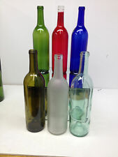 6 Assorted Bottles Assortment Wine Cobalt Red Blue Green Yellow Frosted