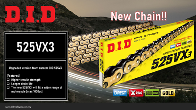D.I.D 525VXG-112L 525 Pro-Street VX Series X-Ring Chain Gold 112 Links