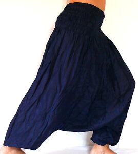 Sarouel Femme Pantalon Ethnique Aladin Harem Pant Aladdin yoga bleu foncé marine