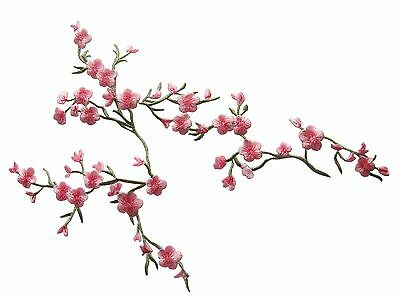 """#4130 9""""x7"""" Pink Quince,Sakura Flower Embroidery Iron On Applique Patch"""