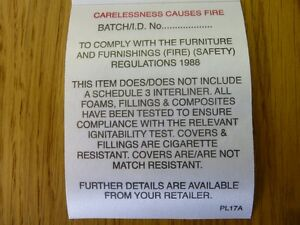 upholstery fire regulation adhesive labels tags 10 labels ebay