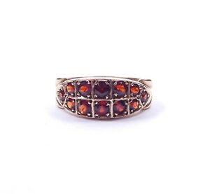 Vintage-Garnet-Antique-Style-Double-Row-Eternity-Ring-9-Carat-Yellow-Gold-4-7g